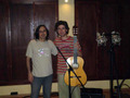 At studio CUE with sound engineer Giannis Mavridis during a recording session break (Thessaloniki-2008).